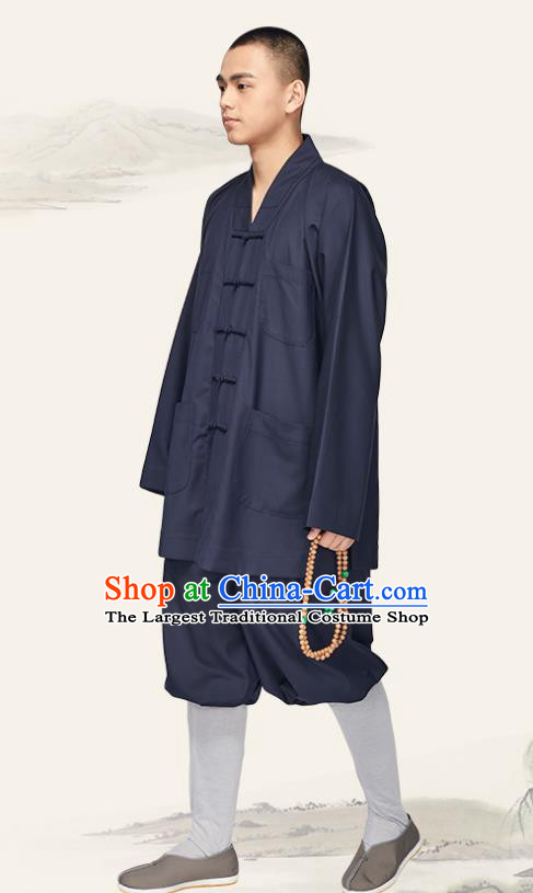 Chinese Traditional Buddhist Bonze Costume Meditation Garment Monk Navy Gown and Pants for Men