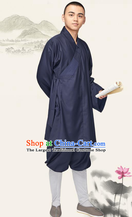 Chinese Traditional Monk Navy Gown and Pants Buddhist Bonze Costume Meditation Garment for Men