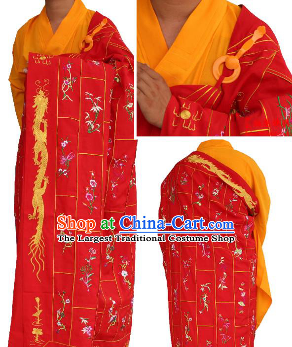 Chinese Traditional Monk Thousand Flowers Pattern Red Cassock Buddhist Bonze Costume Meditation Garment for Men