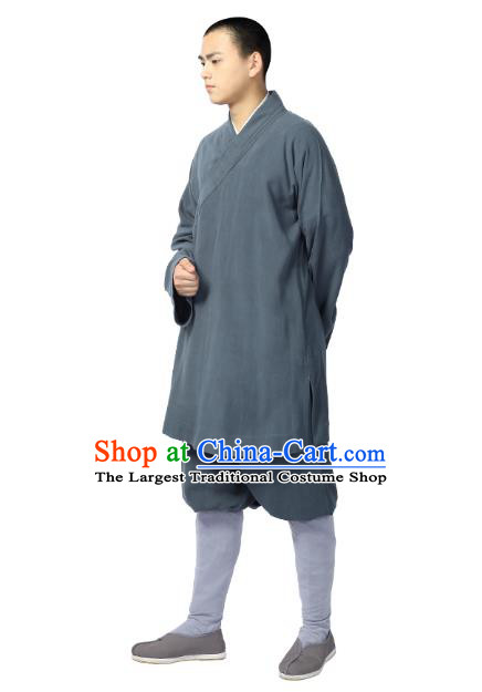 Chinese Traditional Monk Grey Short Gown and Pants Meditation Garment Buddhist Costume for Men