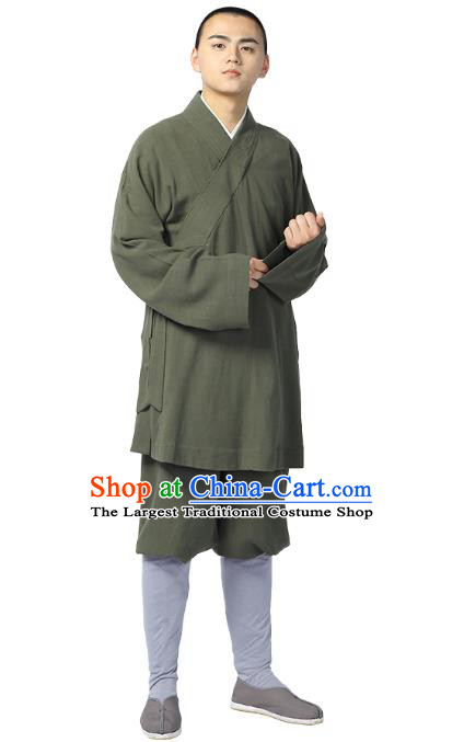 Chinese Traditional Monk Olive Green Short Gown and Pants Meditation Garment Buddhist Costume for Men
