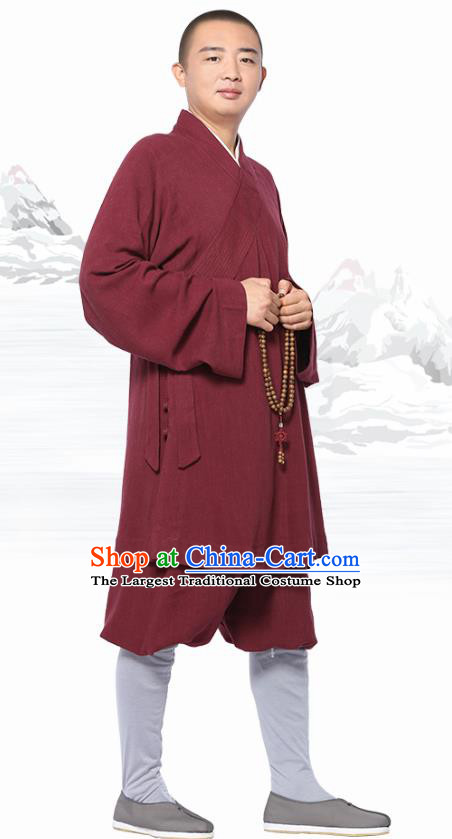 Chinese Traditional Monk Wine Red Short Gown and Pants Meditation Garment Buddhist Costume for Men