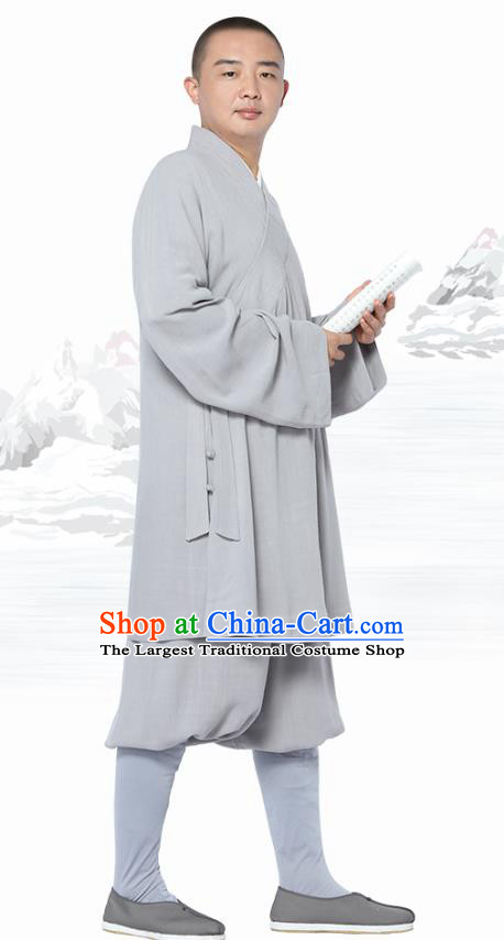 Chinese Traditional Monk Light Grey Short Gown and Pants Meditation Garment Buddhist Costume for Men