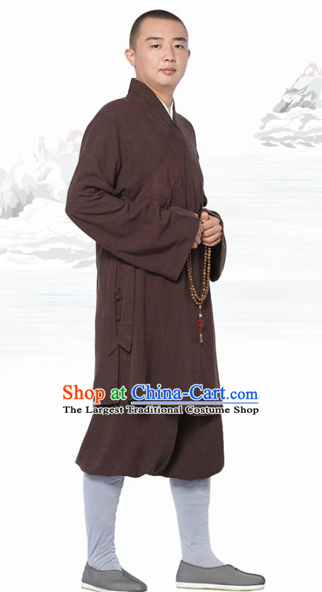 Chinese Traditional Monk Brown Short Gown and Pants Meditation Garment Buddhist Costume for Men
