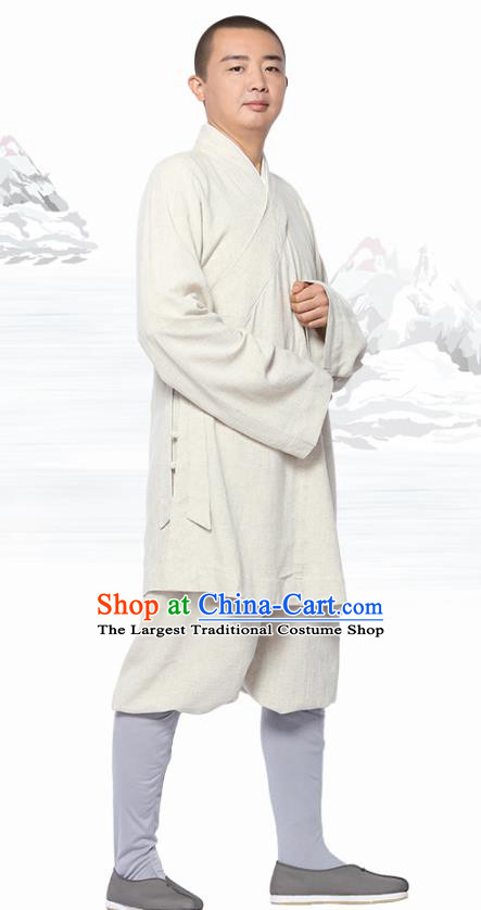 Chinese Traditional Monk White Short Gown and Pants Meditation Garment Buddhist Costume for Men