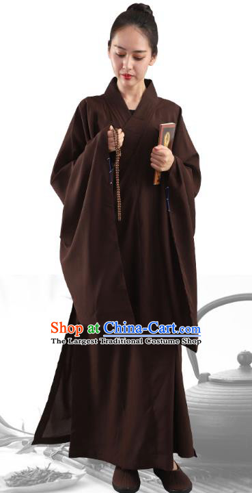 Chinese Traditional Lay Buddhist Brown Robe Costume Meditation Garment Dharma Assembly Frock for Women