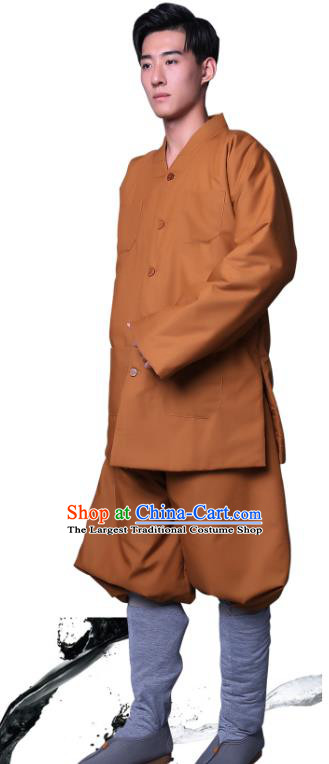 Chinese Winter Buddhist Monk Costume Traditional Meditation Garment Bonze Clothing Ginger Cotton Wadded Coat and Pants for Men