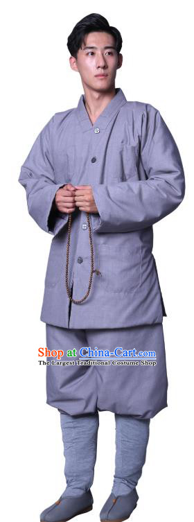 Chinese Winter Buddhist Monk Costume Traditional Meditation Garment Bonze Clothing Grey Cotton Wadded Coat and Pants for Men