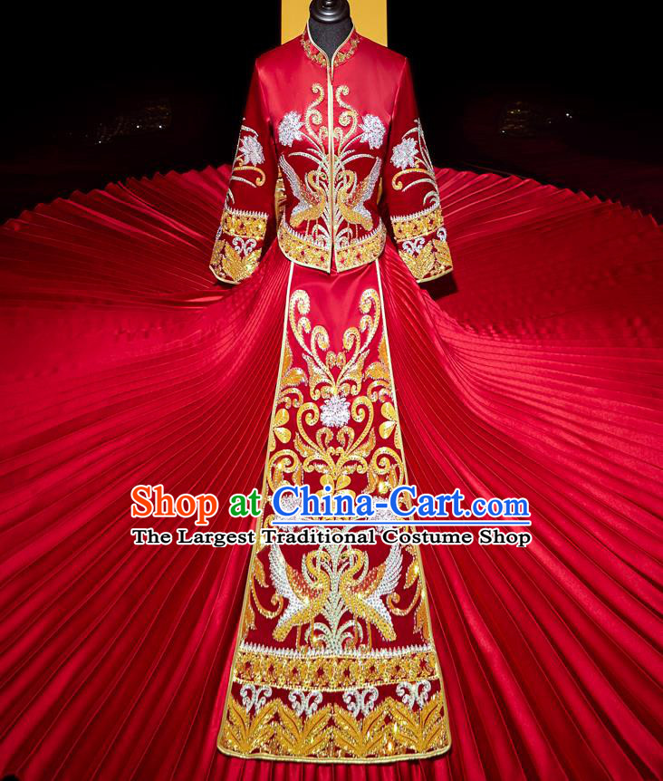 Top Grade Chinese Traditional Wedding Costumes Ancient Bride Diamante Xiuhe Suit Toast Red Dress for Women