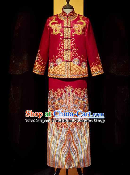 Chinese Bridegroom Costume Traditional Wedding Garment Clothing Tang Suit Mandarin Jacket and Robe for Men