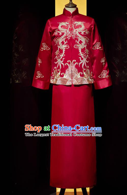 Chinese Bridegroom Embroidered Costume Traditional Wedding Garment Clothing Tang Suit Red Mandarin Jacket and Robe for Men