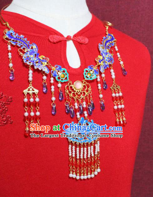 Traditional Chinese Ancient Princess Cloisonne Necklace Handmade Jewelry Accessories Pearls Phoenix Tassel Necklet for Women