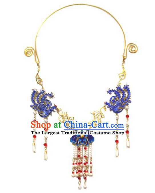 Traditional Chinese Ancient Princess Necklace Handmade Jewelry Accessories Cloisonne Phoenix Pearls Tassel Necklet for Women