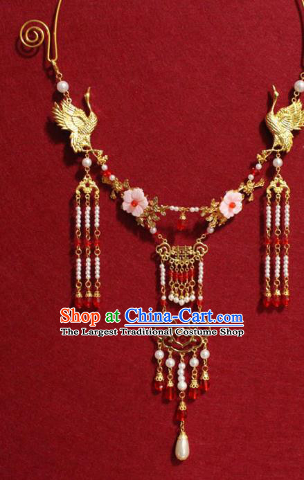 Traditional Chinese Ancient Princess Pearls Tassel Necklace Handmade Jewelry Accessories Golden Cranes Necklet for Women