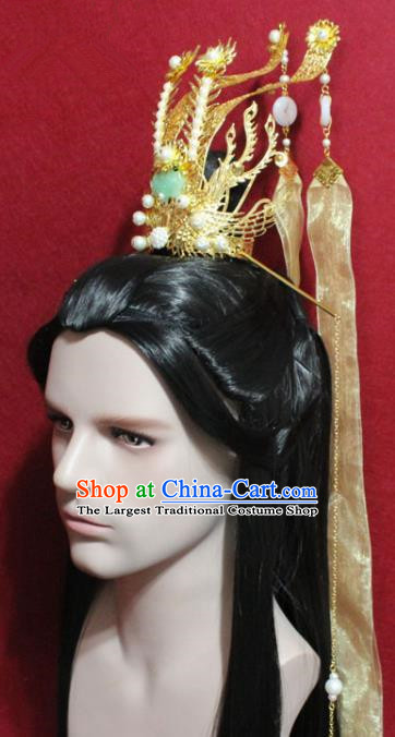 Traditional Chinese Ancient Prince Golden Hairdo Crown Handmade Ming Dynasty Noble Childe Hair Accessories for Men