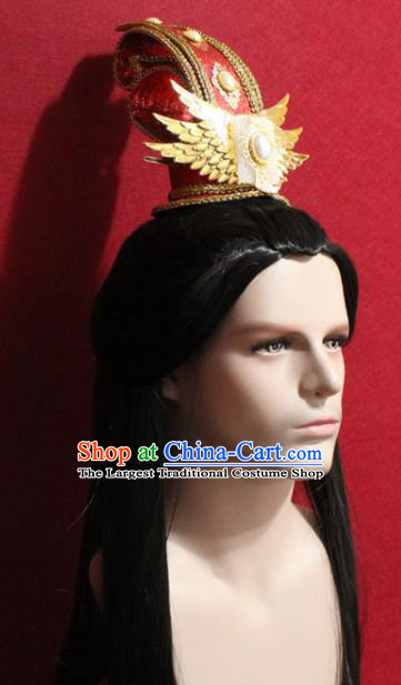 Traditional Chinese Ancient Prince Red Hairdo Crown Handmade Ming Dynasty Noble Childe Jade Hair Accessories for Men