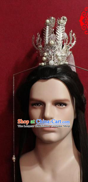 Traditional Chinese Ancient Prince Argent Hairdo Crown Handmade Ming Dynasty Noble Childe Ribbon Hair Accessories for Men