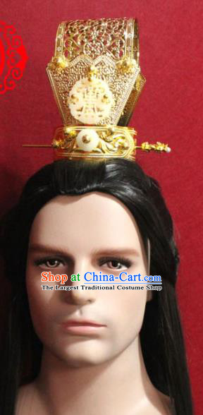 Traditional Chinese Ancient Prince Golden Hairdo Crown and Hairpin Handmade Ming Dynasty Noble Childe Jade Hair Accessories for Men