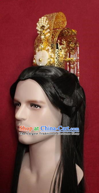 Traditional Chinese Ancient Prince Jade Hairdo Crown and Hairpin Handmade Ming Dynasty Noble Childe Pearls Tassel Hair Accessories for Men