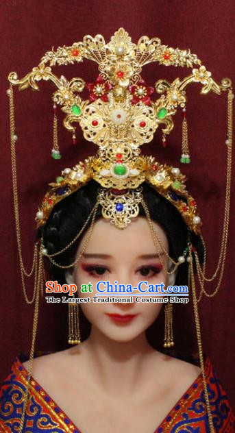 Chinese Ancient Imperial Consort Golden Phoenix Coronet Hair Jewelry Traditional Handmade Hairpins Hair Accessories Complete Set