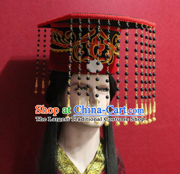 Traditional Chinese Ancient Emperor Tassel Hat Handmade Han Dynasty Monarch Hair Accessories Royal Crown for Men