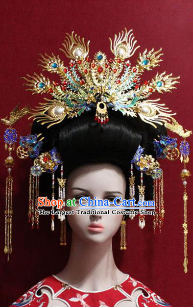 Traditional Chinese Ancient Queen Phoenix Coronet Handmade Hair Jewelry Cloisonne Hairpins Hair Accessories Complete Set