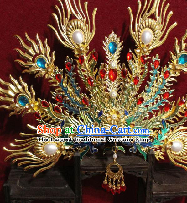 Traditional Chinese Handmade Cloisonne Phoenix Hair Crown Golden Hairpins Hair Accessories Headwear for Women