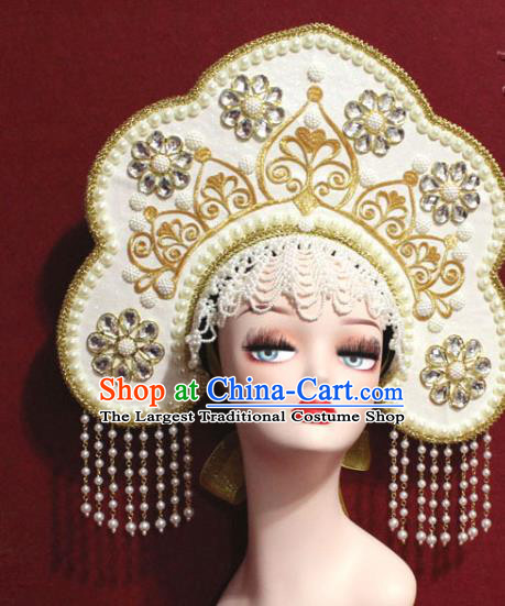 Traditional Chinese Ancient Queen Beige Phoenix Coronet Handmade Hair Jewelry Tassel Hair Accessories Complete Set