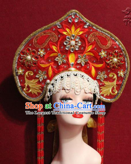 Traditional Chinese Ancient Queen Red Phoenix Coronet Handmade Hair Jewelry Tassel Hair Accessories Complete Set