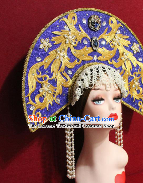 Traditional Chinese Ancient Queen Beads Tassel Royalblue Phoenix Coronet Handmade Hair Jewelry Hair Accessories Complete Set