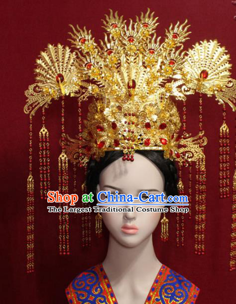 Traditional Chinese Ancient Queen Golden Phoenix Coronet Handmade Hair Jewelry Tassel Hairpins Hair Accessories Complete Set