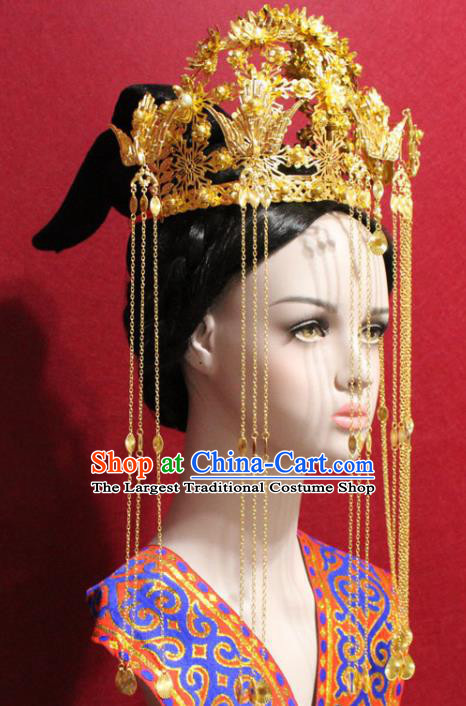 Traditional Chinese Ancient Queen Golden Tassel Phoenix Coronet Handmade Hair Jewelry Hairpins Hair Accessories Complete Set