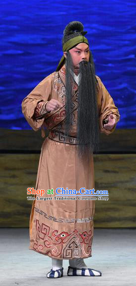 Ma Zu Chinese Peking Opera Elderly Male Garment Costumes and Headwear Beijing Opera Laosheng Apparels Clothing