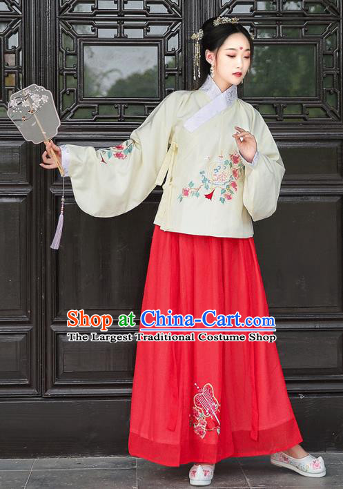 Chinese Ming Dynasty Young Lady Historical Costumes Traditional Hanfu Dress Ancient Patrician Female Blouse and Skirt Apparels