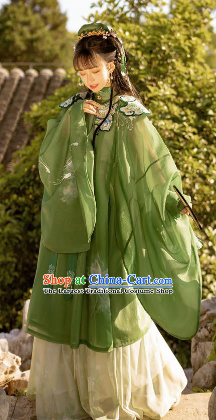 Traditional Chinese Ming Dynasty Noble Female Apparels Ancient Royal Princess Embroidered Green Hanfu Dress Historical Costumes