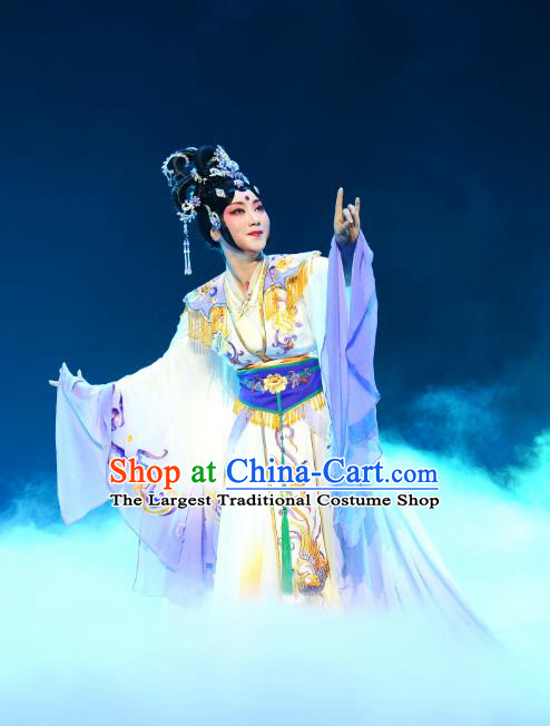 Chinese Beijing Opera Actress Chang E Apparels Costumes and Headpieces Goddess of the Moon Traditional Peking Opera Diva Dress Garment