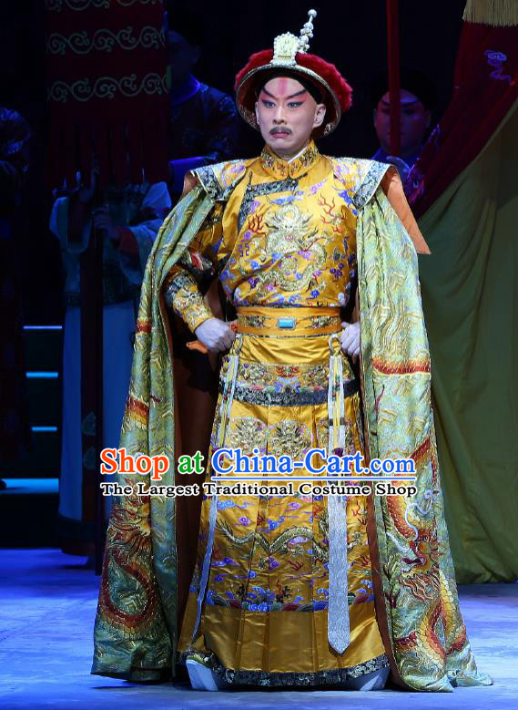 Kangxi Dadi Chinese Peking Opera Garment Costumes and Headwear Beijing Opera Qing Dynasty Emperor Apparels Clothing Majesty Embroidered Robe