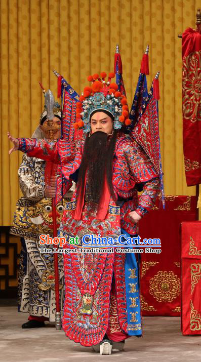A Honey Trap Chinese Peking Opera Wusheng Garment Costumes and Headwear Beijing Opera Apparels Martial Man Clothing General Red Kao Armor Suit with Flags