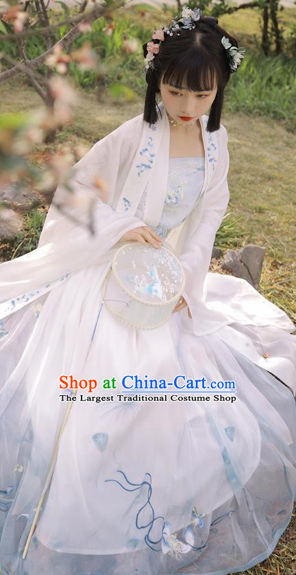Traditional Chinese Tang Dynasty Noble Lady Historical Costumes Apparels Ancient Lotus Goddess Embroidered Hanfu Dress