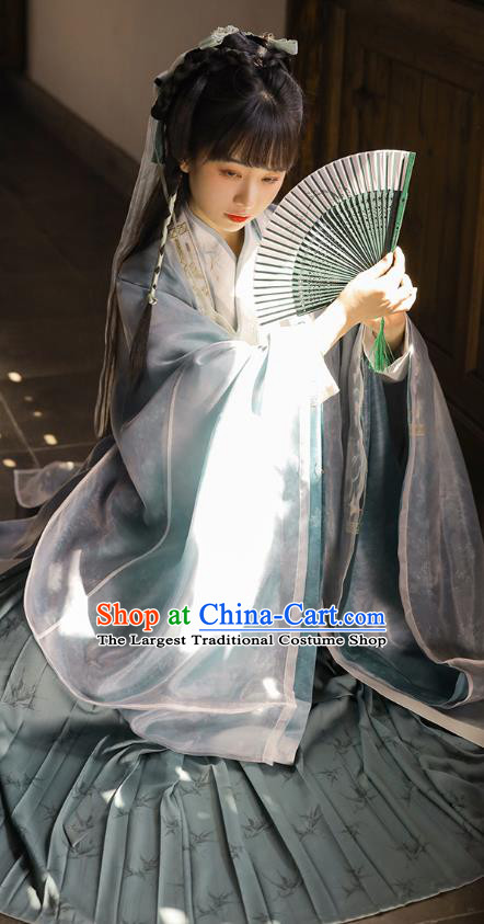 Chinese Ancient Goddess Embroidered Hanfu Dress Traditional Jin Dynasty Apparels Royal Princess Historical Costumes for Women