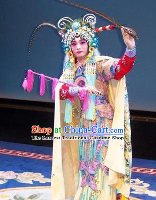 Chinese Beijing Opera Tao Ma Tan Apparels Costumes and Headdress Traditional Peking Opera Blues Princess Shuangyang Dress Martial Female Garment