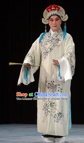 Fa Men Temple Chinese Peking Opera Young Man Garment Costumes and Headwear Beijing Opera Xiaosheng Apparels Scholar Fu Peng Clothing