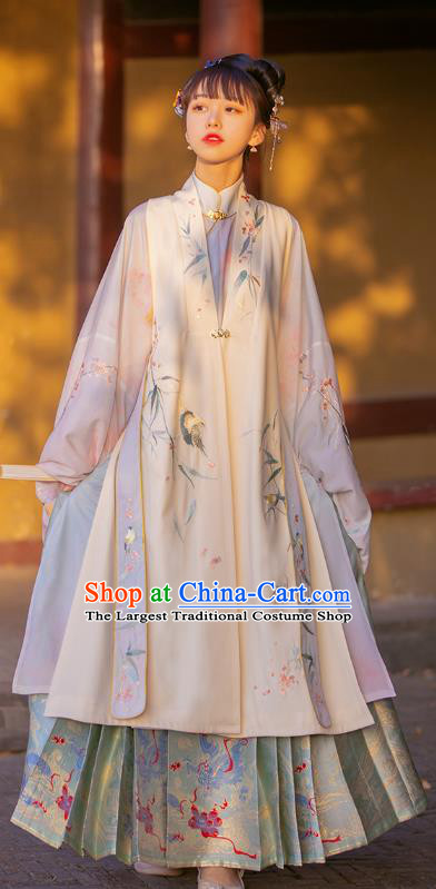 Chinese Traditional Ming Dynasty Noble Princess Embroidered Hanfu Dress Ancient Patrician Lady Apparels Historical Costumes