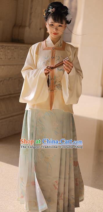 Chinese Ancient Ming Dynasty Noble Lady Embroidered Hanfu Dress Apparels Traditional Historical Costumes for Woman