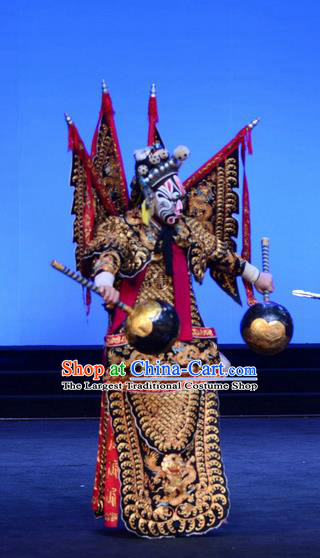 Ba Da Chui Chinese Peking Opera General Armor Garment Costumes and Headwear Beijing Opera Martial Male Apparels Takefu Yan Chengfang Kao with Flags Clothing