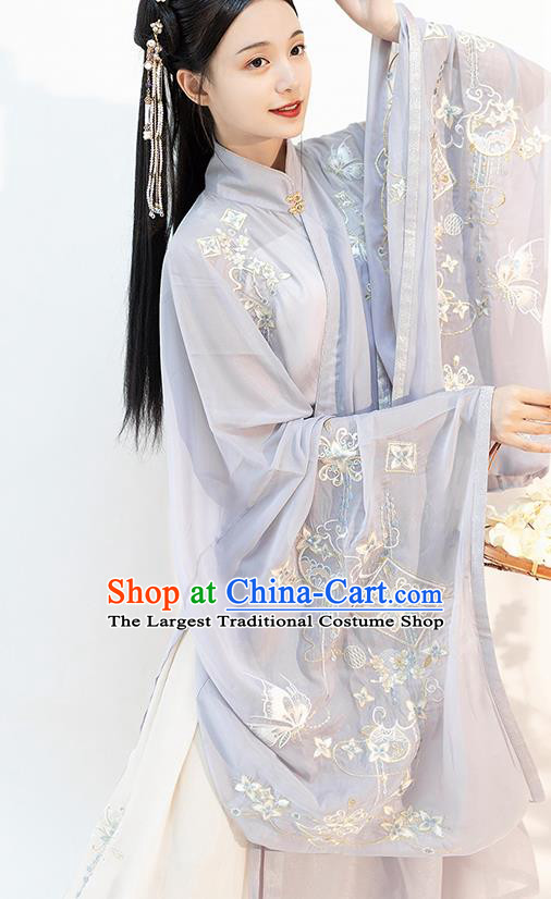 Chinese Ming Dynasty Young Lady Historical Costumes Traditional Apparels Ancient Patrician Woman Embroidered Hanfu Dress