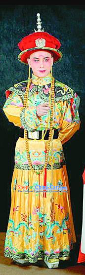 Fu Shan Jin Jing Chinese Shanxi Opera Monarch Apparels Costumes and Headpieces Traditional Jin Opera Young Male Garment Emperor Kangxi Clothing