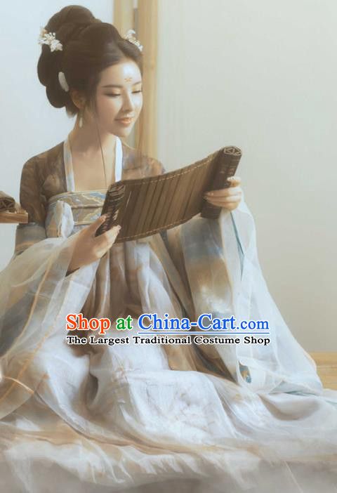 Chinese Traditional Apparels Tang Dynasty Palace Princess Historical Costumes Ancient Goddess Dance Hanfu Dress for Women