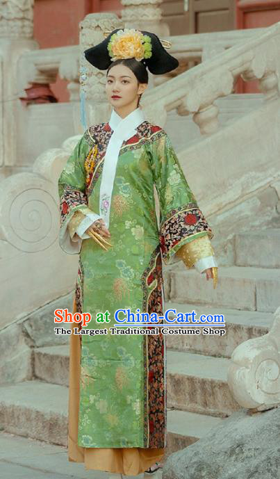 Chinese Traditional Drama Green Hanfu Dress Ancient Apparels Qing Dynasty Imperial Consort Historical Costumes and Headdress Complete Set for Women
