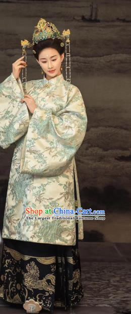 Chinese Traditional Drama Royal Queen Hanfu Dress Ancient Apparels Ming Dynasty Imperial Empress Historical Costumes and Headdress Complete Set